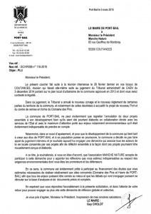 Lettre du Maire de Portbail - 5 mars 2015